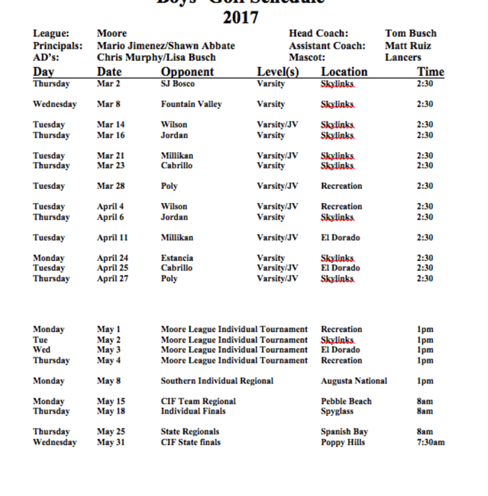 Boys Golf Schedule 2017